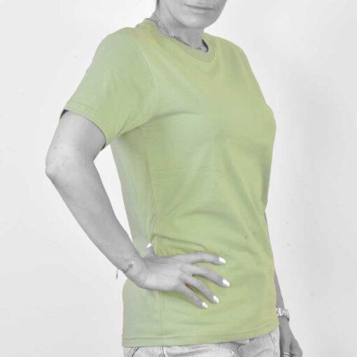 تیشرت ساده پنبه ای دخترانه سبز پاستلی
